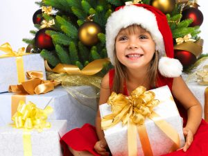 girl with christmas presents